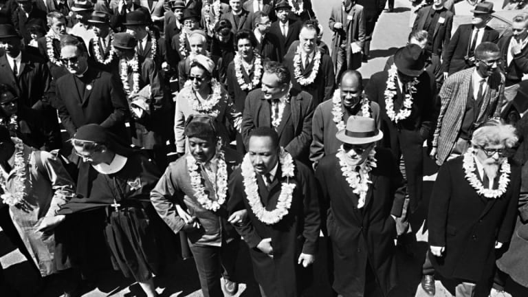 Martin Luther King, Jr. begins the march from Selma to Montgomery