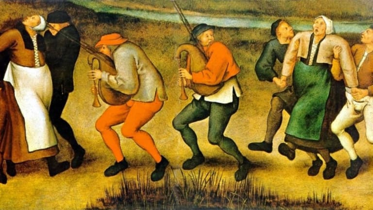 What was the dancing plague of 1518?