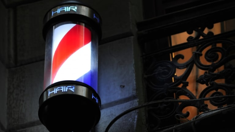 Why are barber poles red, white and blue?