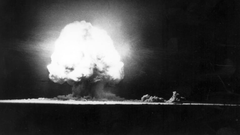 The first atomic bomb test is successfully exploded
