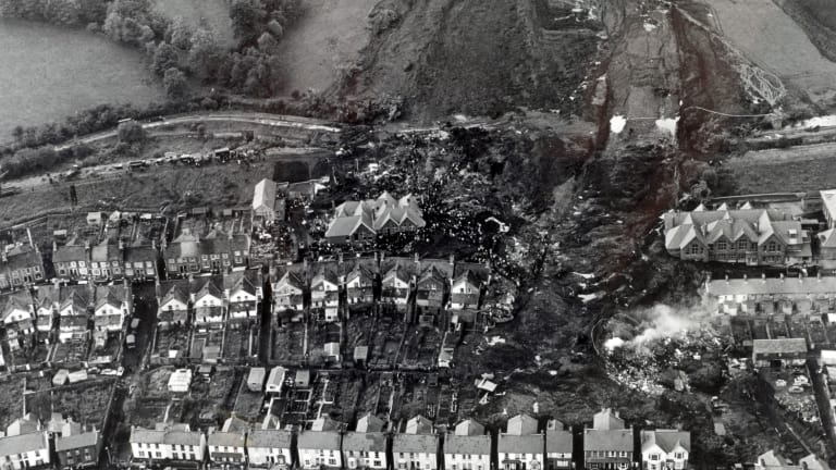 Aberfan disaster kills 144 people and levels a Welsh mining village