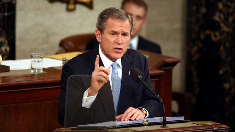 "George W. Bush describes Iraq, Iran and North Korea as ""axis of evil"""
