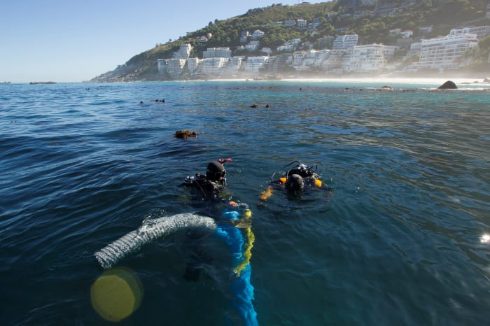 Underwater archaeology researchers on the site of the São José slave ship wreck near the Cape of Good Hope in South Africa.