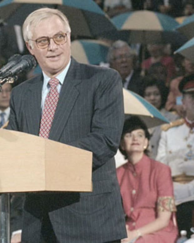 The last British governor of Hong Kong, Chris Patten, gives a speech to its people while handing back Hong Kong to Chinese authorities on July 1, 1997.