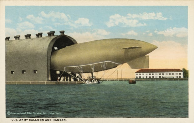 Postcard Of A Us Army Balloon And Hangar