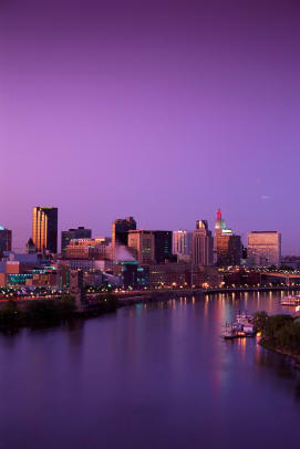 St Paul Skyline And Mississippi River
