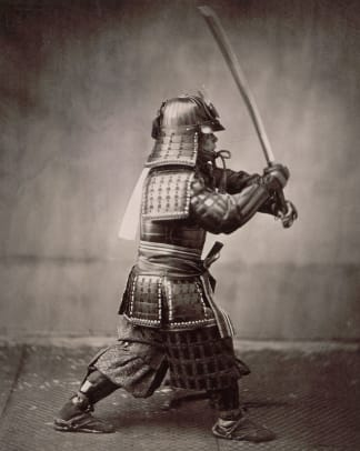 Samurai Brandishing Sword By Felice Beato