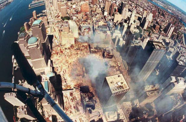 Aerial View Of Manhattan Shows Smouldering World Trade City