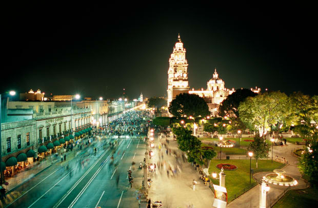 Street In Morelia On Saturday Night