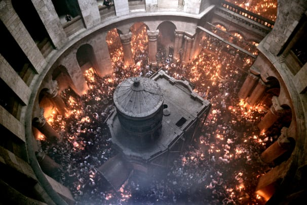 Holy Fire Ceremony Inside The Church Of The Holy Sepulcher In Jerusalem Marking Easter