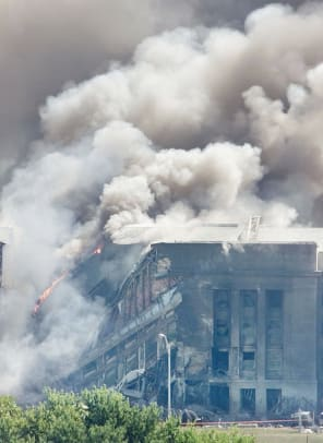 Area Of Pentagon Hit By Airplane In Terrorist Attack