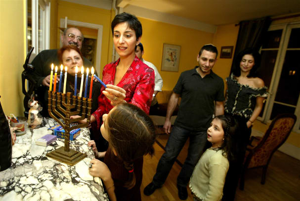 France Religion Traditional Jewish Family Celebrates Hanukkah