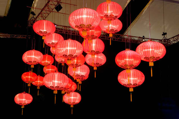 Red Lanterns Hung For Chinese New Year