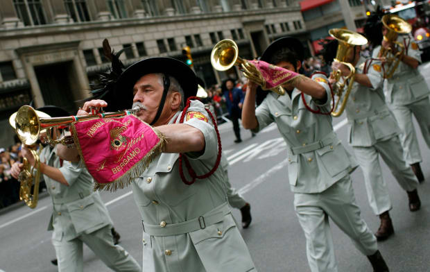A Marching Band From Bergamo Italy Takes Part In The Annual Columbus Day Parade Up Fifth Avenue In New York
