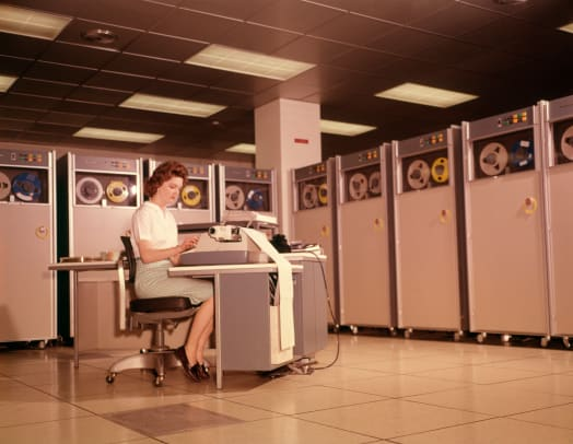 1960s Woman With Data Entry Computer B 5000 Reels Of Magnetic Tape