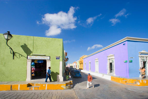 Brightly Painted Buildings In Campeche Mexico