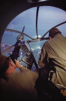 Gunners In Nose Turret Of B 17 Bomber During World War Ii