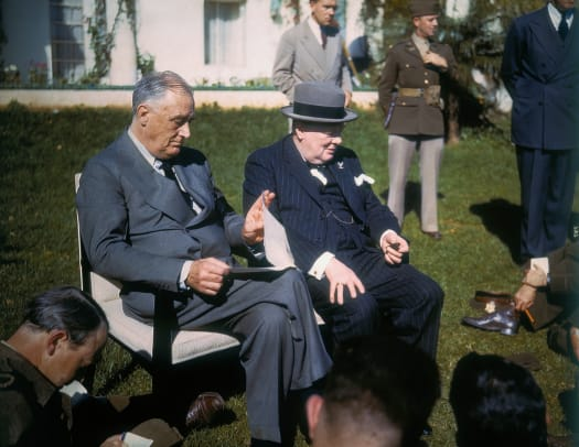 Franklin D Roosevelt With Winston Churchill