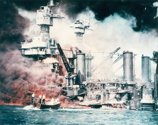Battleships Burning At Pearl Harbor 2