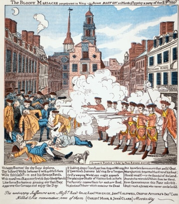 Print Of British Troops Shooting At Crowd In Boston Massacre By Paul Revere