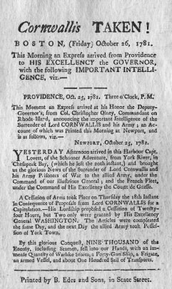 Article Announcing British Surrender During American Revolution