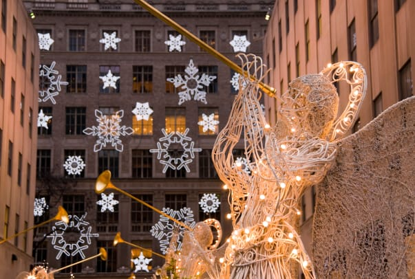 New York City Manhattan Rockefeller Center Christmas Decorations And Saks Department Store 2