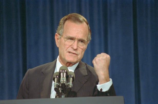 George Bush Gesturing With Fist