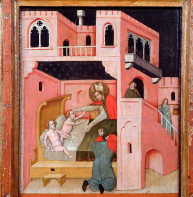 Panel Painting Of Saint Nicholas Helping Children By Vitale Da Bologna 2