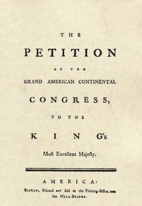 Title Page Of Petition Of Grievances Of Colonies