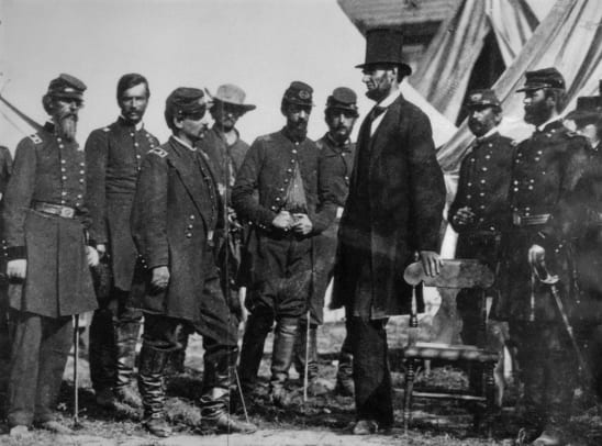 Abraham Lincoln At Antietam During Civil War