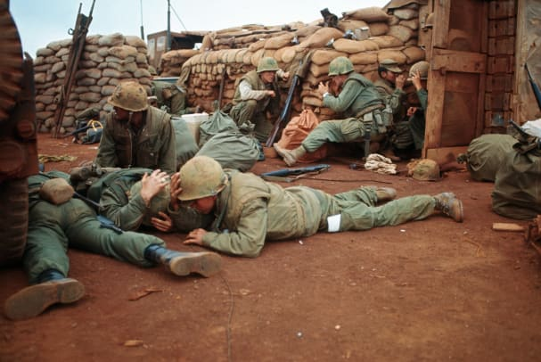 American Marines Take Cover During Vietnam War