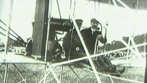 Orville and Wilbur Wright on a test flight