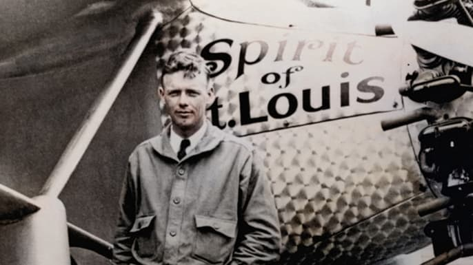 Charles Lindbergh with his historic plane 'Spirit of St. Louis'