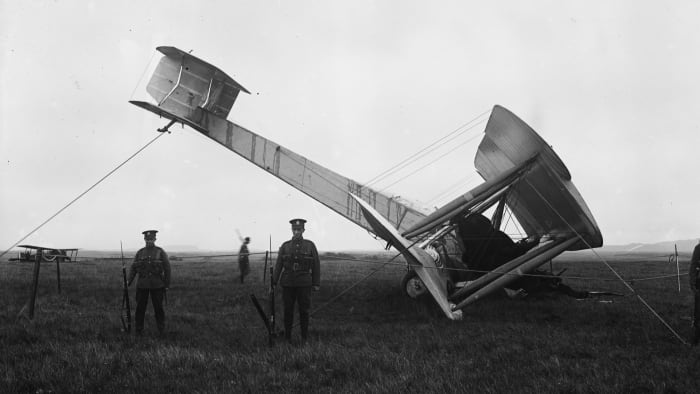 The first nonstop transatlantic flight ended with a nosedive into a bog in western Ireland. The pilots walked away unscathed.