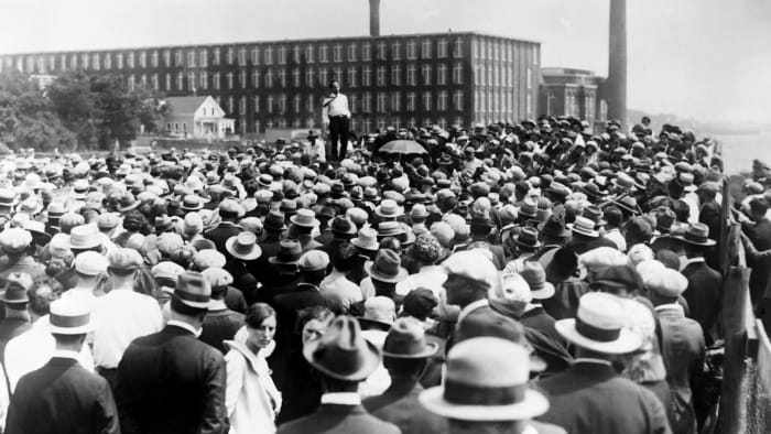 Crowd on the street during a strike, 1927