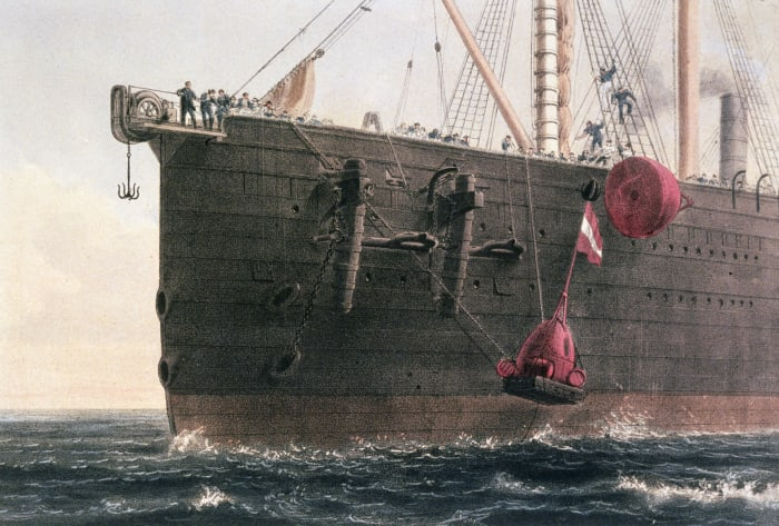 The laying of the transatlantic telegraph cable, c. 1866. The launching of the buoy marked the spot where the cable had been grappled.