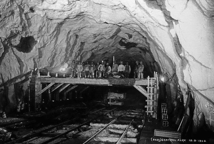 Construction workers in a tunnel of the New York City subway, .
