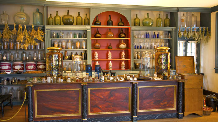 Original shelves, drawers and pigeonholes with leeches, lancets and snakeroot from a colonial-era apothecary in Fredericksburg, Virginia.