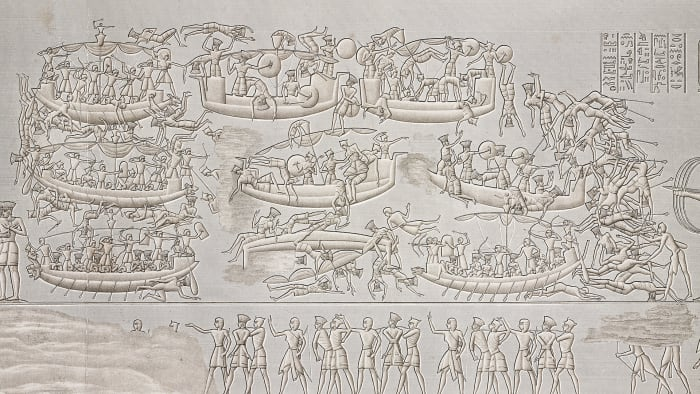 Ramses III and his soldiers defeating the Sea Peoples during the Battle of the Delta (naval battle), relief, Mortuary Temple of Ramses III, Medinet Habu temple complex, Theban Necropolis, Luxor, Egypt.