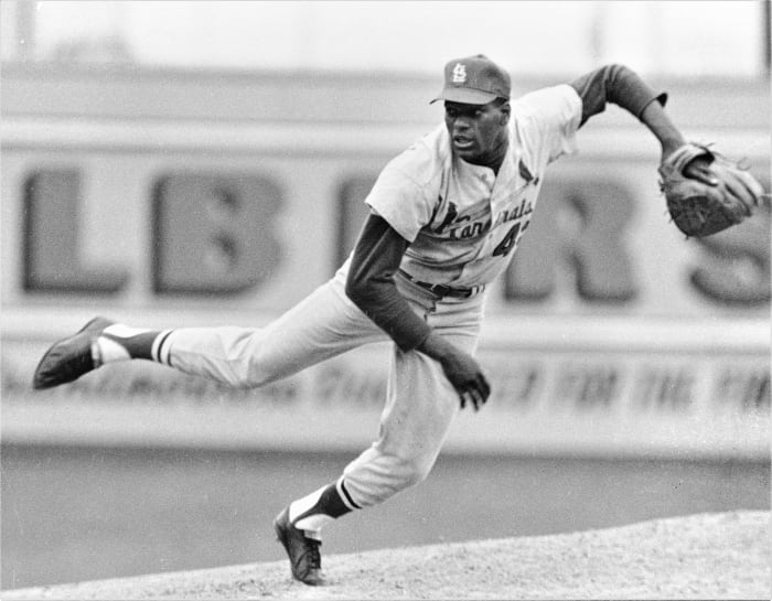MLB Baseball - St. Louis Cardinals Bob Gibson in an undated photo.  (Photo by Sporting News via Getty Images / Sporting News via Getty Images via Getty Images)
