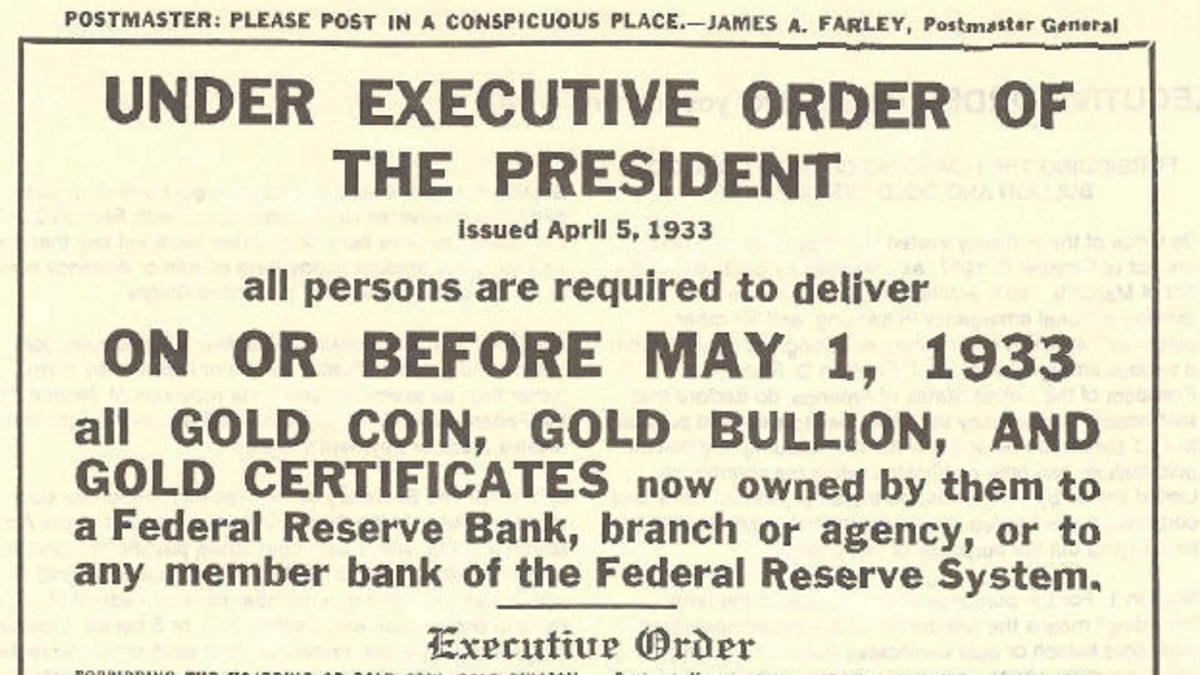 FDR takes United States off gold standard