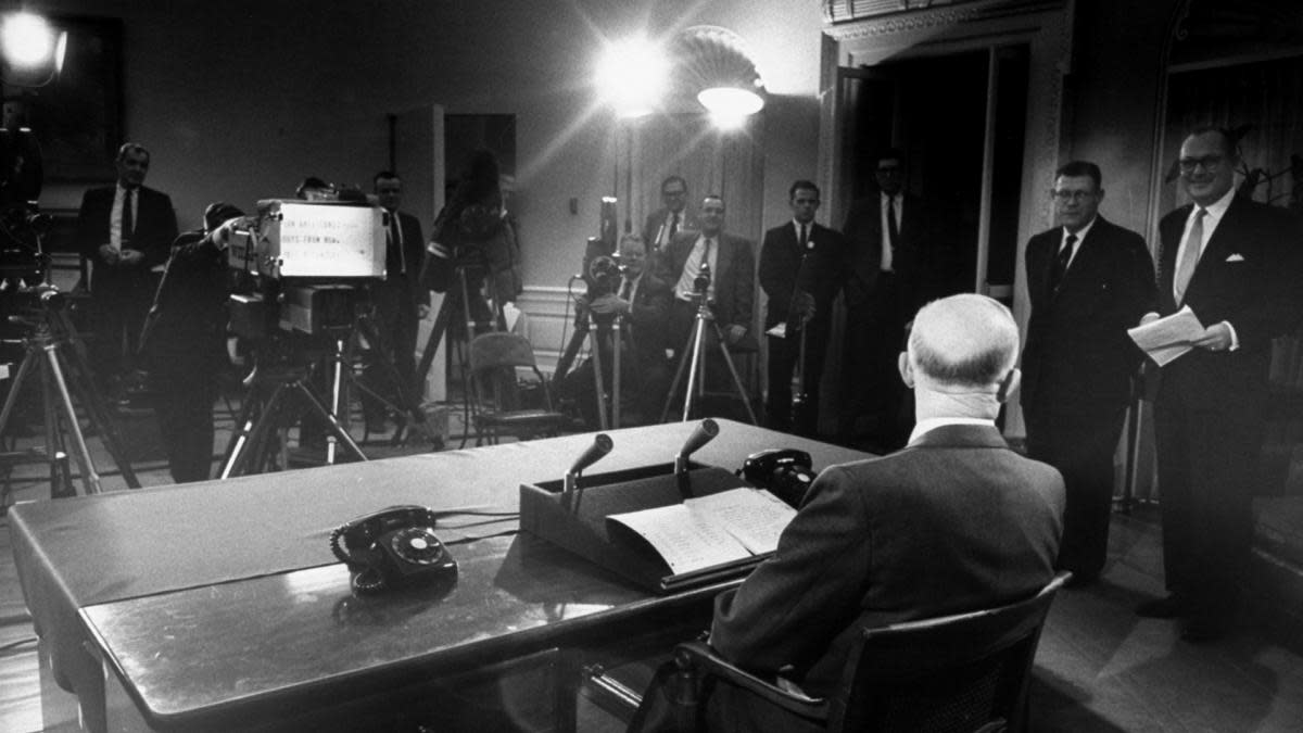 President Dwight D. Eisenhower presenting his farewell address to the nation. (Credit: Ed Clark/The LIFE Picture Collection/Getty Images)