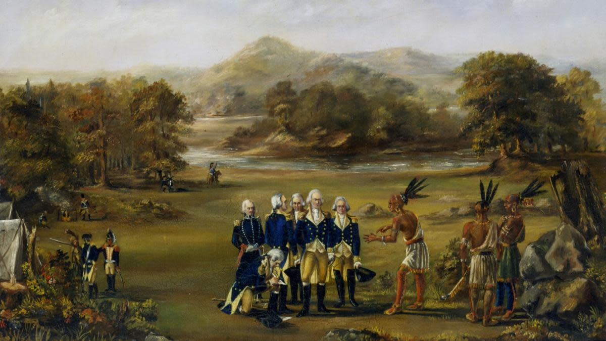 his painting from 1795 depicts 'Mad Anthony' Wayne and his officers negotiating a treaty that opened up most of present-day Ohio to settlers, after Wayne's legion won a decisive victory over a confederation of Indian warriors. (Credit: Chicago History Museum/Getty Images)