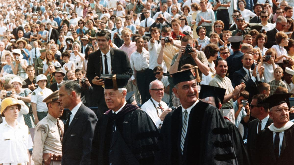President Lyndon B. Johnson before his commencement address delivered to graduates of the University of Michigan. (Credit: Corbis/Getty Images)