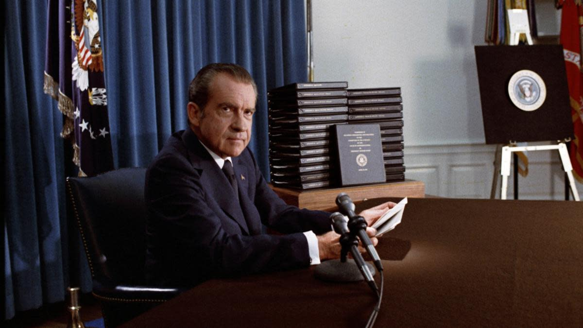 President Richard Nixon with the Watergate tapes, 1974. (Credit: Universal History Archive/UIG via Getty Images)