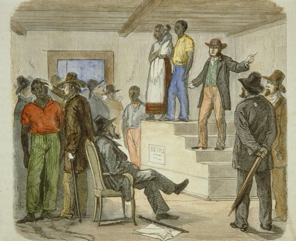 Slave auction circa 1861. (Credit: API/Gamma-Rapho/Getty Images)