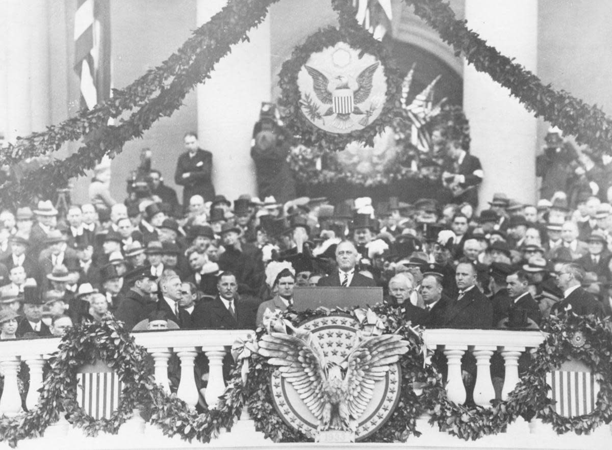 Franklin Delano Roosevelt making his inaugural address as 32nd President of the United States, 1933. (Credit: Keystone/Getty Images)
