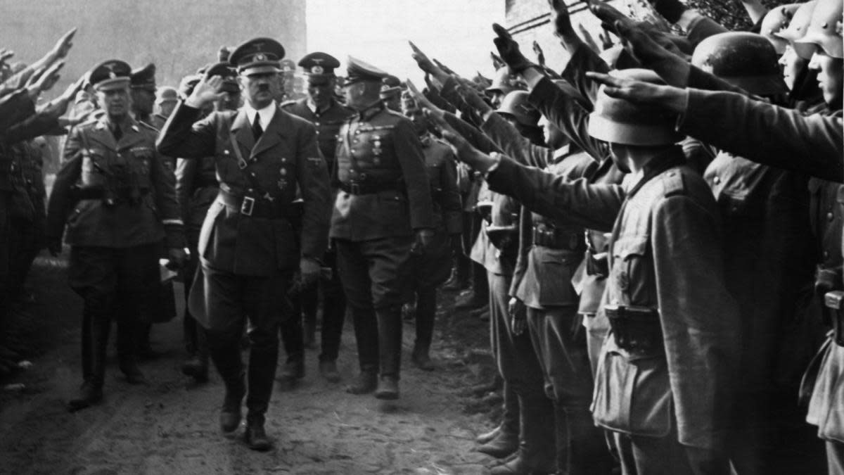 Adolf Hitler visiting troops near Lodz, 1939. (Credit: Heinrich Hoffmann/ullstein bild via Getty Images)