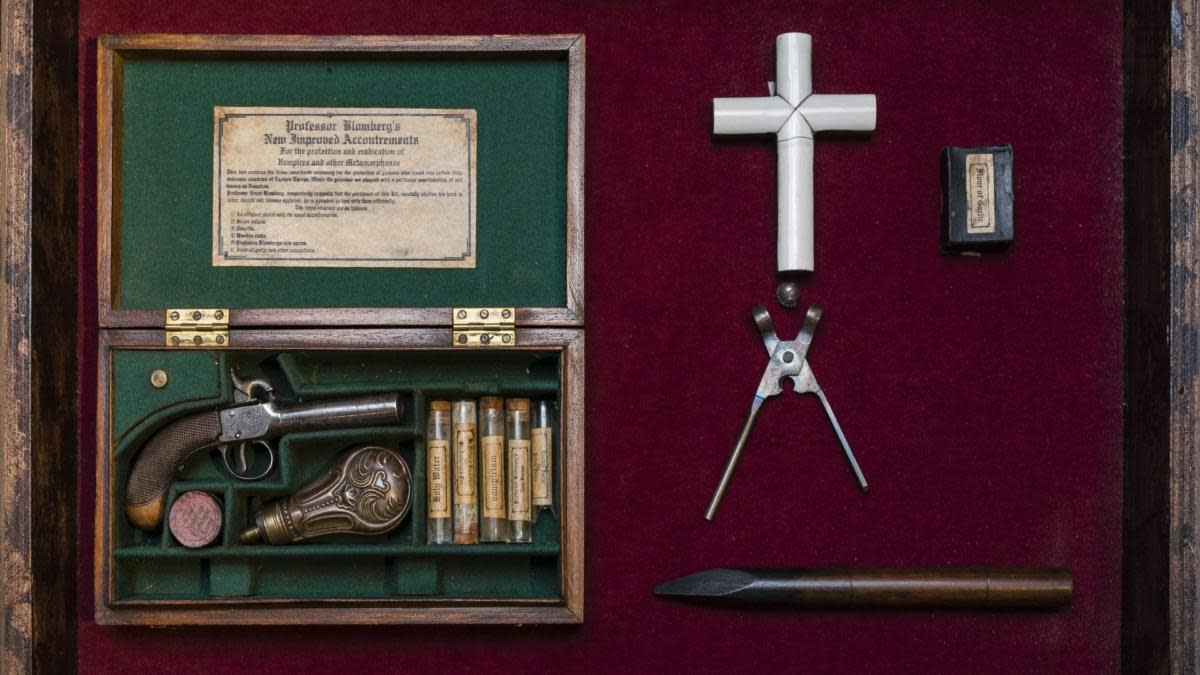 A 19th century Vampire Killing Kit which contains an ivory cross, a gun, silver bullets, a wooden stake, holy water and garlic. (Credit: Timothy Fadek/Corbis via Getty Images)