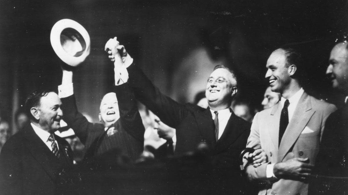 Franklin D Roosevelt celebrating during the 1936 Democratic National Convention. (Credit: PhotoQuest/Getty Images)